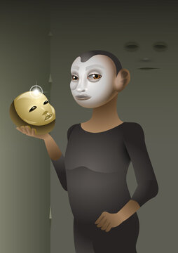 A butoh dancer with a golden mask in his hand. vector illustration