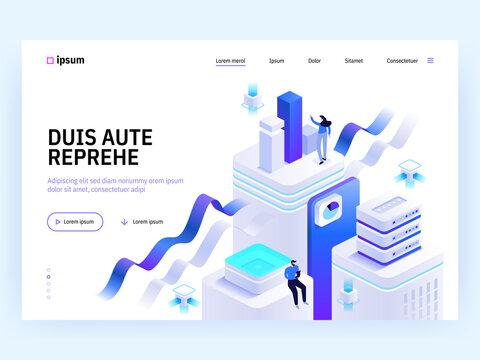 Vector landing page of Tech isometric concept. Teamwork in office, product development, data analysis, business analytics, marketing. Character illustration of advertising banner in isometry design