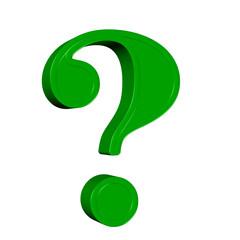 Obraz Grünes Fragezeichen vor weißem Hintergrund, 3D-Illustration - fototapety do salonu