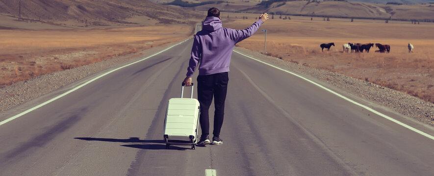 guy road suitcase mountains landscape, traveler, adventure freedom luggage, landscape tibet