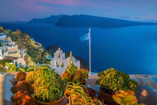 Cityscape of Oia town in Santorini island, Greece
