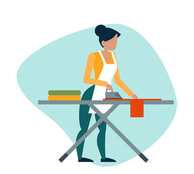 Vector of a woman ironing clothes on an ironing board.