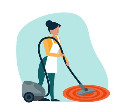 Vector of a woman with a vacuum cleaner doing household chores