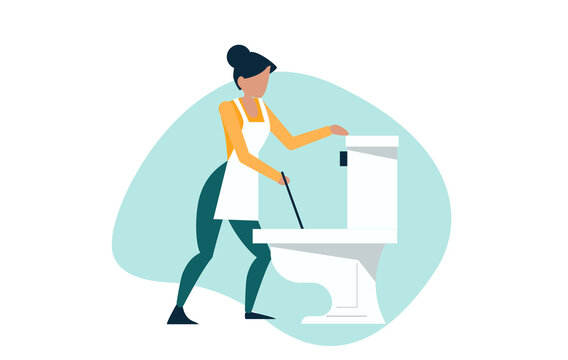 Vector of a house keeping lady cleaning the bathroom