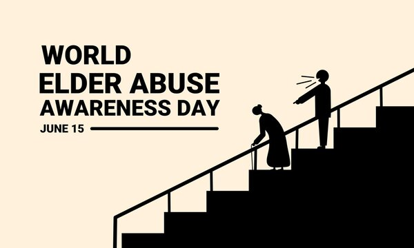 Vector illustration, silhouette of a man cursing an elderly woman as he descends steps, as a banner or poster, World Elder Abuse Awareness Day.