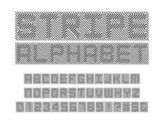 Fototapeta premium Optical illusion style alphabet design with uppercase, numbers and symbols