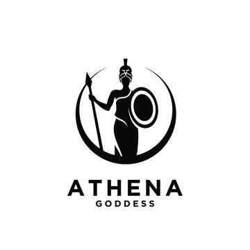 premium Athena the goddess black vector logo illustration design isolated background