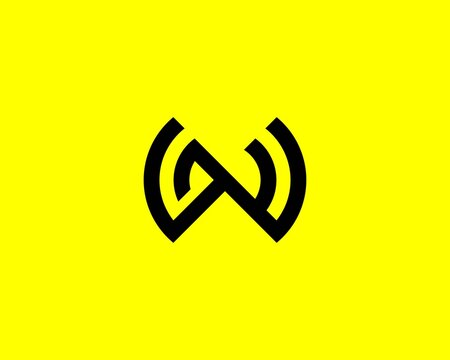 WN NW letter logo design vector template