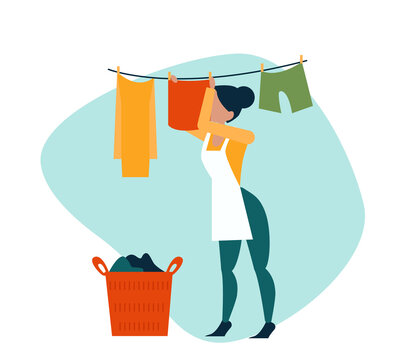Vector of a woman hanging wet clothes out to dry