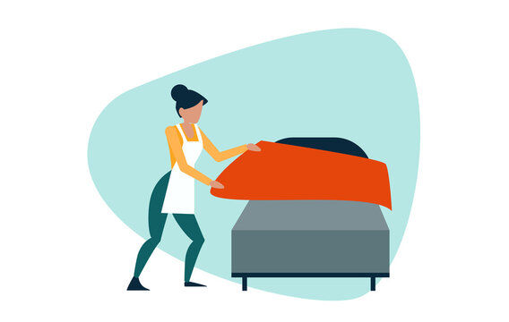 Vector of a young woman making the bed in the room