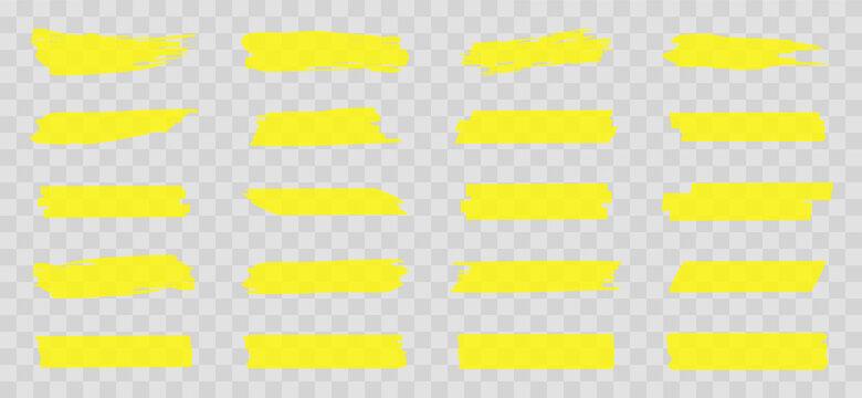 Highlight marker lines. Marker yellow strokes. Hand drawn marker strokes. Text marker stripes. Text highlights and underlining. Brush lines.