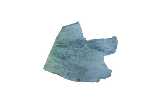 piece of talc rock isolated on white background. metamorphic mineral in metamorphic belts that contain ultramafic rocks, soapstone. There is noise and grain caused by the texture of the stone.