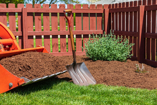 Tractor loader with wood chips or mulch and flowerbed. Lawncare, gardening and backyard landscaping concept