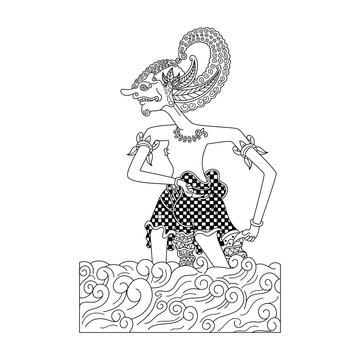 Wayang kulit character in zentangle style