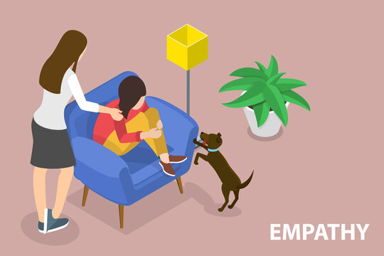 3D Isometric Flat Vector Conceptual Illustration of Empathy, Ability to Emotionally Understand What Other People Feel, Support Friend With a Mental Health Problems