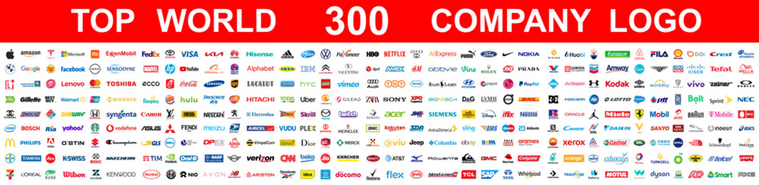 Kiev, Ukraine - May 09, 2021: Top 300 most popular famous and biggest world company logo brands. The largest and most powerful corporations in the world. Editorial vector