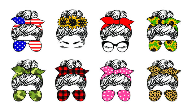 Messy bun set designs. Mom life vecto print. A collection of female faces in aviator sunglasses and bandanas with various themed patterns.