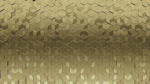Gold, Diamond shaped Wall background with tiles. 3D, tile Wallpaper with Luxurious, Polished blocks. 3D Render