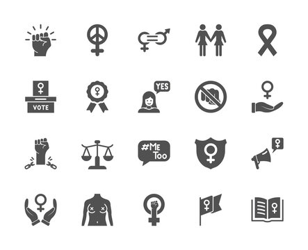 Feminism Icons Set. Empowerment Girl, Gender Equality, Rights of Women, Girl Power, Sex Discrimination, Me Too, Protest Silhouette Icons. Feminism and Girl Power concept. Vector illustration