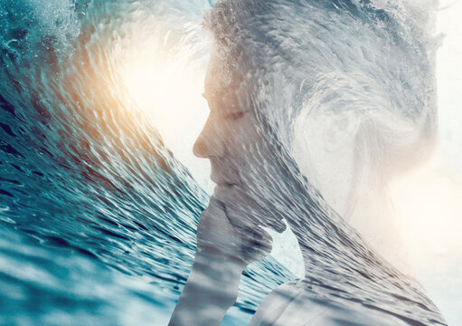 Double exposure woman portrait. Ocean waves, Dreams, Emotions, Soul, Inner Word . Connection with force of nature concept