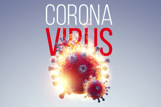 Image of coronavirus cells, COVID-19 against the background of the corona virus inscription. Pandemic, lockdown, 3d wave, epidemic concept. Copy space. 3d render, 3D illustration