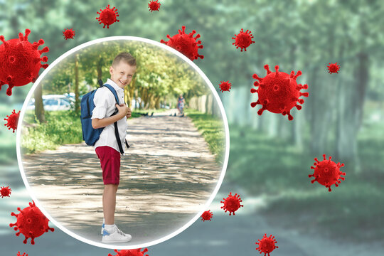Happy Child is protected from viruses, bacteria and diseases. Healthy lifestyle, good immunity, vaccinations, vitamins.