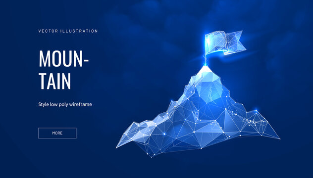 Mountain success futuristic polygonal illustration on blue background. The concept of achieving the goal. Abstract glowing vector illustration for travel or tourism