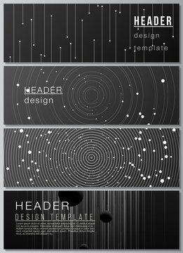 Vector layout of headers, banner design templates for website footer design, horizontal flyer, website header backgrounds. Tech science future background, space design astronomy concept.