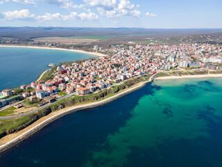 Aerial view of town of Primorsko,  Bulgaria - fototapety na wymiar