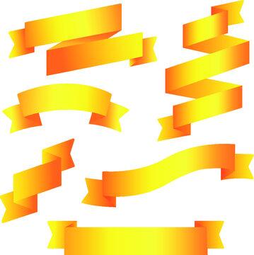 Gradient  ribbons set vector illustration