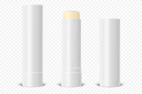Vector Realistic 3d White Blank Glossy Closed, Opened Lip Balm Stick, Hygienic Lipstick Set Closeup Isolated. Design template for graphics, Vector mockup. Cosmetic, Beauty, Makeup Concept. Front View