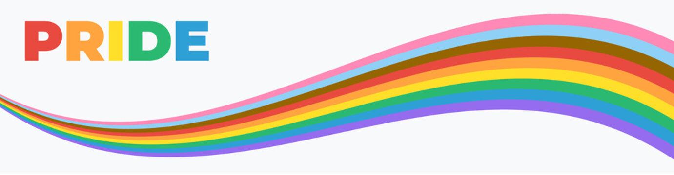 Pride Banner with LGBT Flag Wave. Pride Month Vector Illustration. Pride Rainbow Flag Wave Design Element.