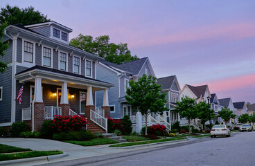 Fototapeta New homes on a quiet street in RaleighNC obraz