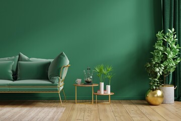 Interior mockup green wall with green sofa and decor in living room.