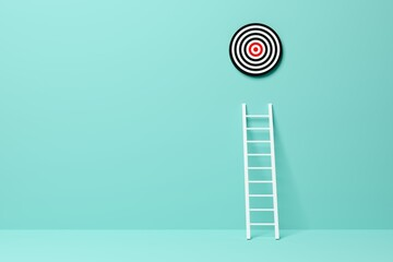 Obraz Ladder leading to goal target in blue room background, achievement, career goal or success concept - fototapety do salonu