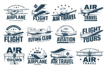 Fototapeta Vintage plane isolated vector icons of air travel, retro aircraft and passenger airline design. Airplane, biplane, monoplane and seaplane symbols with propellers, pilot control wheels and stars obraz