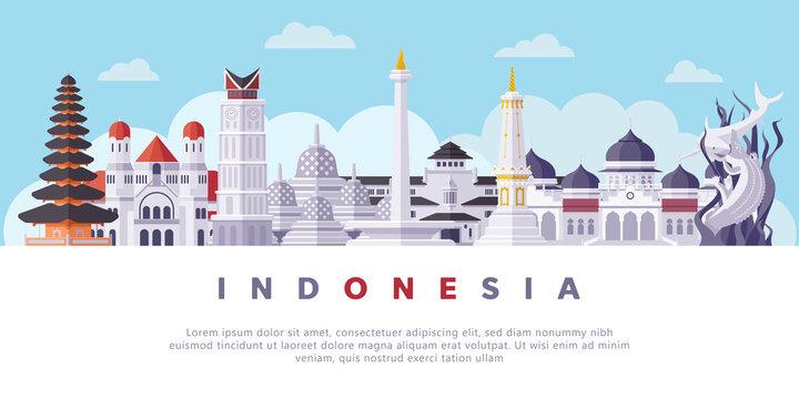 Famous Indonesia Landmarks Flat Illustration