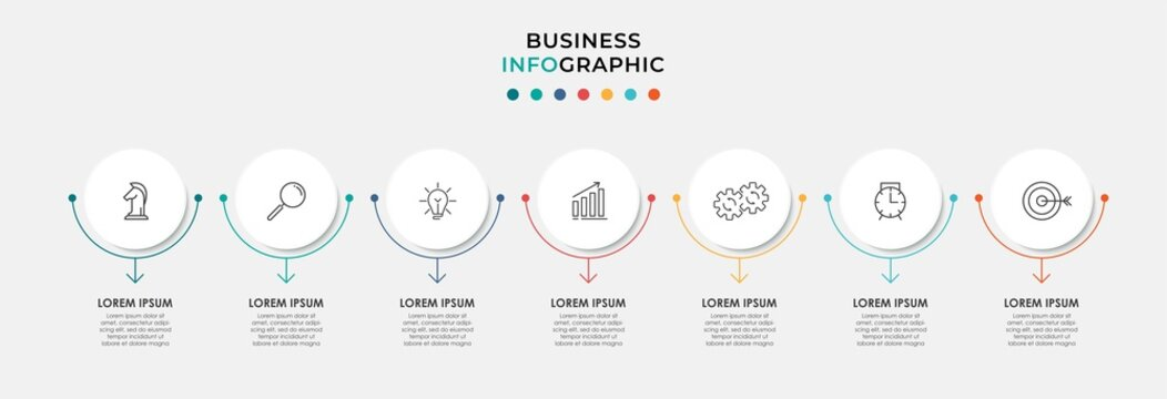 Vector Infographic circle label design business template with icons and 7 options or steps. Can be used for process diagram, presentations, workflow layout, banner, flow chart, info graph
