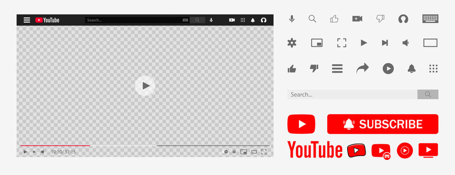 Youtube, youtube kids, YouTube Music, YouTube TV, YouTube VR. Subscribe button icon with arrow cursor. Official logotypes of Youtube Apps. Kyiv, Ukraine - May 9, 2021