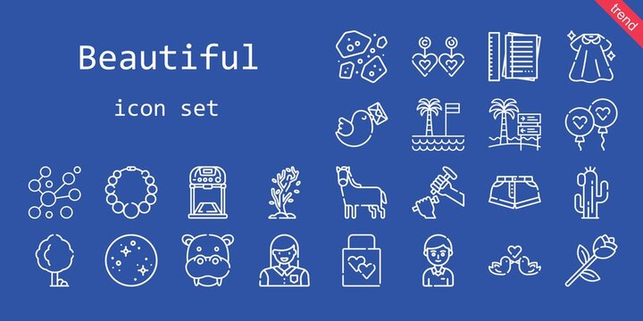 beautiful icon set. line icon style. beautiful related icons such as pigeon, dress, balloon, woman, notes, asteroids, wedding gift, student, mercury, tree, sculpture, necklace, horse, hippopotamus