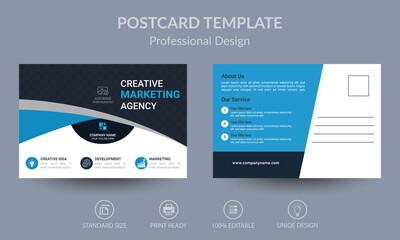 Blue Corporate business postcard or EDDM postcard design template