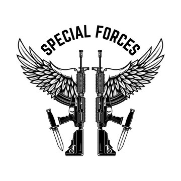 Special forces. ar-15 assault rifles with wings. Design element for logo, label, sign, emblem. Vector illustration