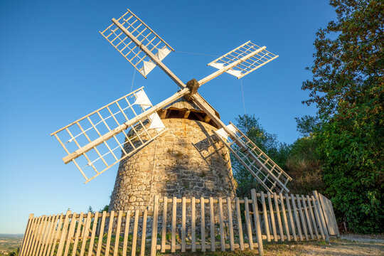The windmill in the village of Lautrec is from the 17th century and one of the few still working today in the South of France.
