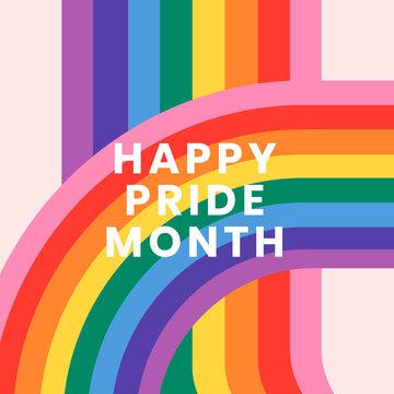 LGBTQ rainbow pride with happy pride month