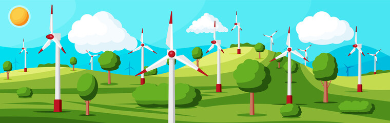 Canvas Prints Turquoise Wind Farm In Green Fields Among Trees. Nature Landscape With Modern Windmills. Green Energy Concept Banner. Ecology Alternative Energy Source Technology. Flat Vector Illustration