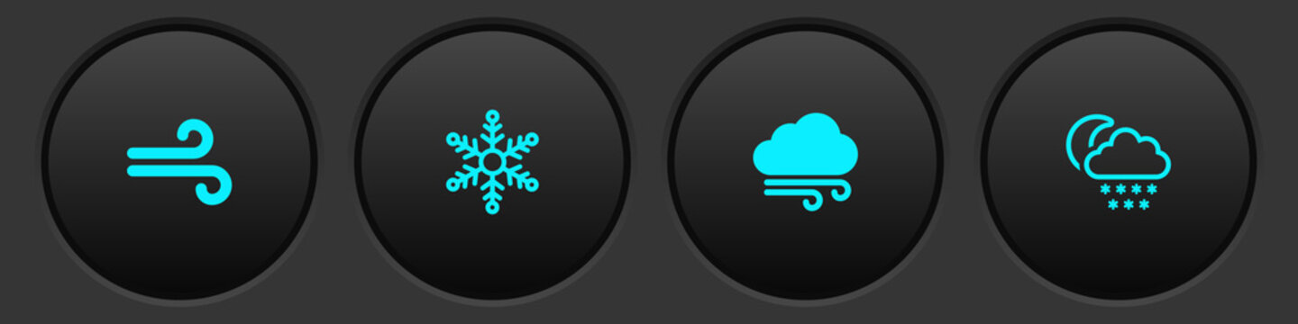 Set Wind, Snowflake, Windy weather and Cloud with snow and moon icon. Vector