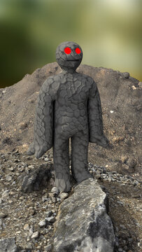 A funny golem character in the middle of the nature. 3d illustration