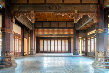 The interior of ancient buildings in the Qin and Han dynasties of China