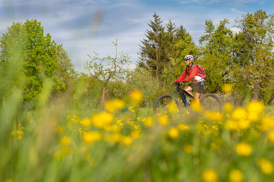nice senior woman on electric bicycle in a meadow with yellow blooming spring flowers near Stuttgart, Germany