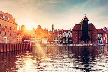 Old town of Gdansk Danzig in Poland. Zuraw crane